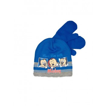 Set 2pz cappello cappellino muffole guanti bimbo bambino Disney baby Mickey azzurro