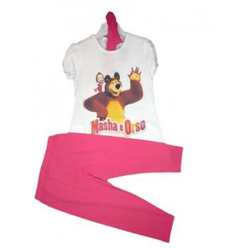 Completo maglia maglietta leggings bimba bambina Masha e Orso fucsia