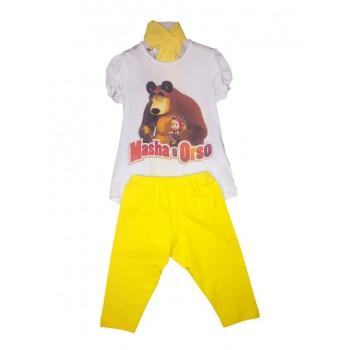 Completo maglia maglietta leggings bimba neonata Masha e Orso giallo