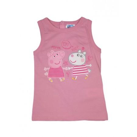T-shirt maglia maglietta senza manica bimba neonato Peppa Pig rosa