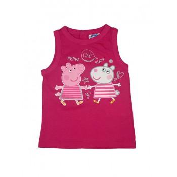 T-shirt maglia maglietta senza manica bimba neonato Peppa Pig fucsia