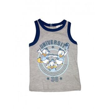 T-shirt maglia maglietta senza manica bimbo neonato Disney baby Qui Quo Qua grigio