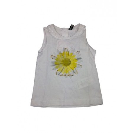 Canotta maglia maglietta senza manica bimba bambina Losan bianco girasole