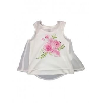 Canotta maglia maglietta senza manica bimba bambina Losan Chic bianco