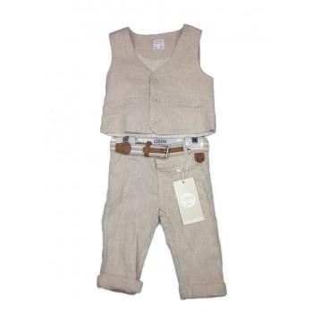 Completo 2pz pantalone gilet lino bimbo neonato bambino Losan Chic beige