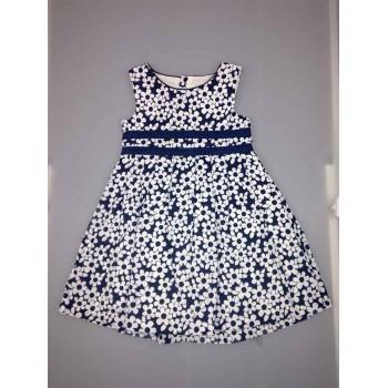 Abitino abito vestito bimba bambina senza manica bianco blu Losan Chic