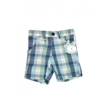 Pantaloncino shorts bimbo neonato bambino Losan quadroni grigio verde