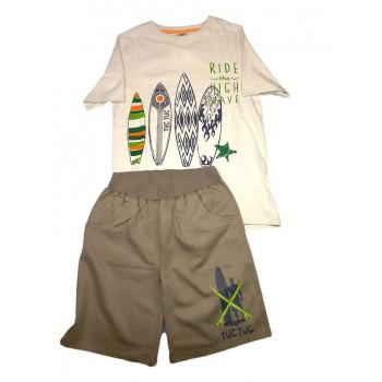 Completo 2pz maglia pantaloncino bimbo neonato bambino mezza manica Tuc Tuc beige fango