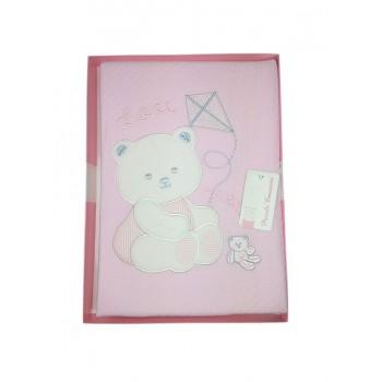 Copertina coperta T&R baby lettino culla bimba neonato ricamo orsetto rosa