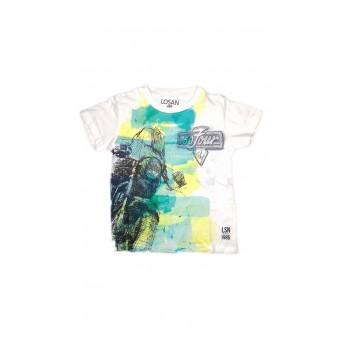 T-shirt maglia maglietta bimbo  bambino Losan bianco fantasia