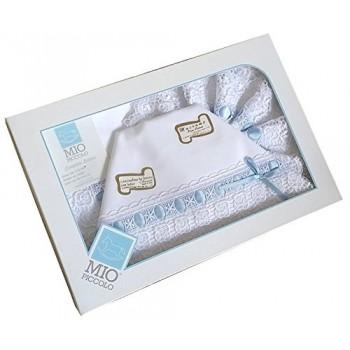 Completo lettino culla Mio Piccolo bimbo neonato lenzuolo macramè bianco cielo
