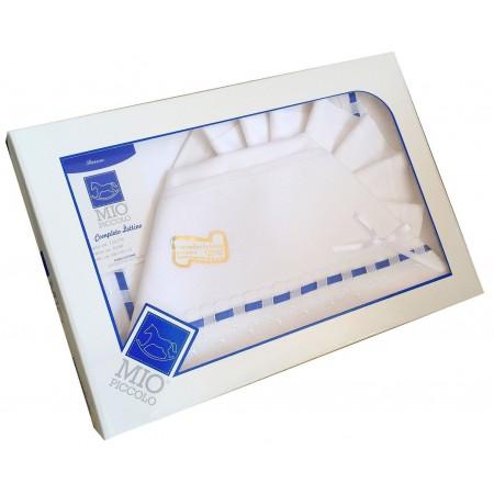 Completo culla lettino bimbo neonato lenzuolo aida fascia blu