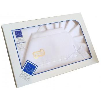 Completo culla lettino bimba bimbo neonato lenzuolo aida bianco