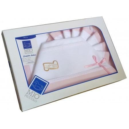 Completo culla lettino bimba  neonato lenzuolo aida rosa