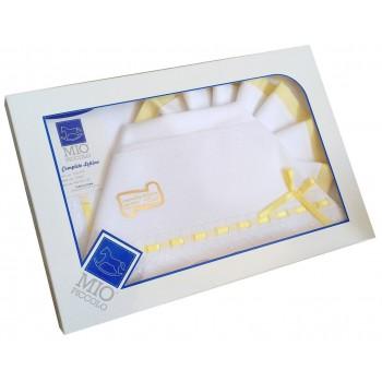 Completo culla lettino Mio Piccolo bimbo neonato lenzuolo aida bianco giallo