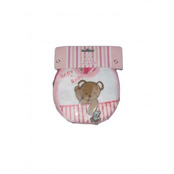 Confezione 6 pezzi bavetta bavaglino bavagli bimba neonato rosa fucsia