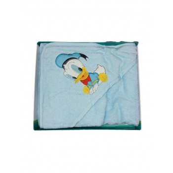 Accappatoio triangolo bimbo neonato spugna Paperino Disney baby cielo