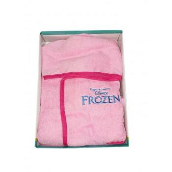 Accappatoio bimba spugna cotone neonato Disney Frozen rosa