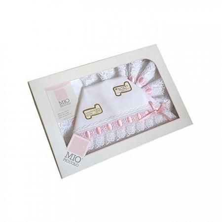 Completo culla lettino bimba neonato lenzuolo macramè bianco rosa