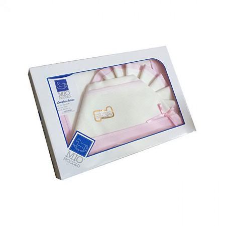 Completo culla lettino bimba  neonato lenzuolo aida panna rosa