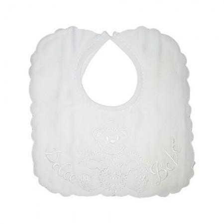 Bavetta neonato/a quadrata piquet bianco