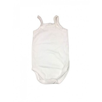 Body bodino intimo cotone biologico neonato bimba senza manica bretellina Rapife panna