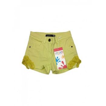 Pantaloncino shorts jeans bimba bambina Losan verde pizzo