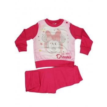 Pigiama maglia maglietta pantalone bimba neonato Disney baby Minnie fucsia
