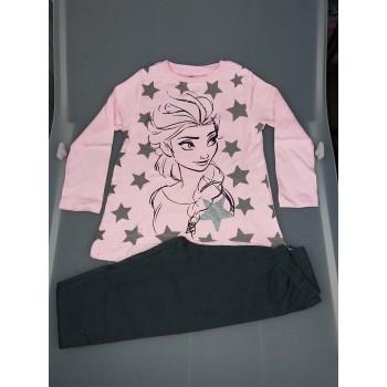 Pigiama maglia maglietta pantalone bimba bambina Disney Frozen rosa