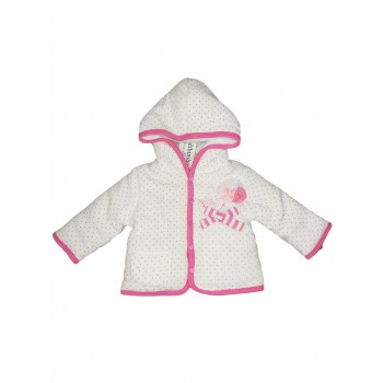 Giubbino cappottino ciniglia bimba neonato Bidibimbo bianco rosa