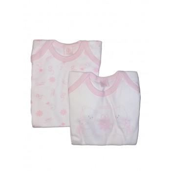 Bi-pack body intimo bimba neonato mezza manica Nazareno Gabrieli bianco fantasia rosa