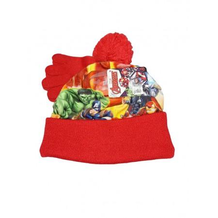 Set 2pz cappello cappellino guanti bimbo bambino Avengers rosso ... 86984ffc99d5