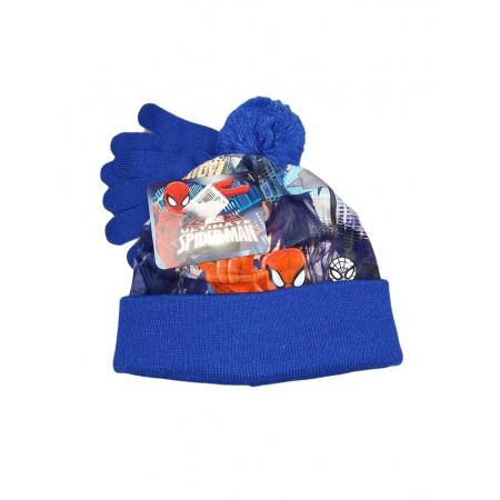 Set 2pz cappello cappellino guanti bimbo bambino Spiderman bluette ... 7b41c8f113d4