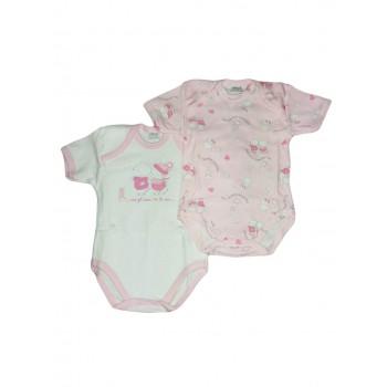 Bi-pack body intimo bimba neonato mezza manica Ellepi bianco rosa Af4820