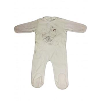 Tuta tutina ciniglia bimbo neonato Ellepi bianco panna