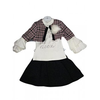 Completo 3pz bambina gonna maglia e giacca Made in Italy