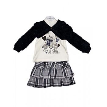 completo 3pz bimba gonna maglia e coprispalle Made in Italy blu bianco Petit Jolie