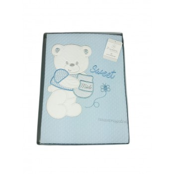 Copertina coperta lettino culla bimbo neonato Nazareno Gabrieli ricamo orsetto cielo