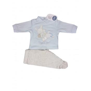 Completo 2pz cotone bimbo neonato Ellepi cielo grigio