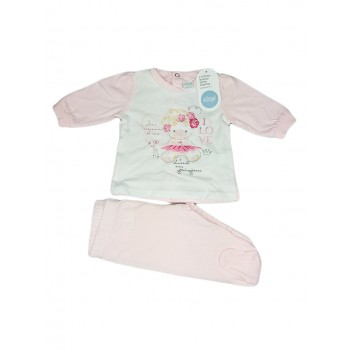 Completo 2pz cotone bimba neonato Ellepi bianco rosa