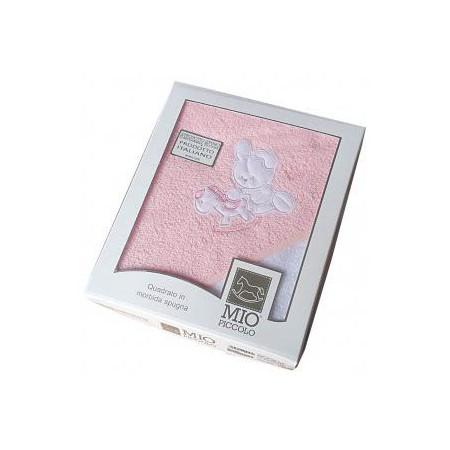 Accappatoio triangolo telo spugna bimba neonato ricamo coniglio rosa