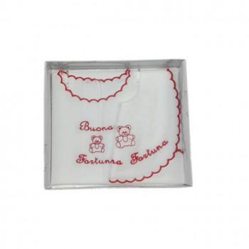 Set bavetta bavaglino + camicia camicina della fortuna bimbo bimba neonato Birillini bianco rosso
