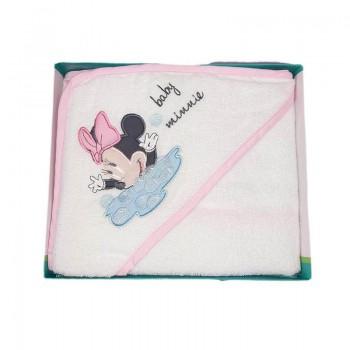 Accappatoio triangolo bimba neonato spugna Minnie Disney baby bianco rosa