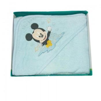 Accappatoio triangolo bimbo neonato spugna Mickey Disney baby bianco cielo