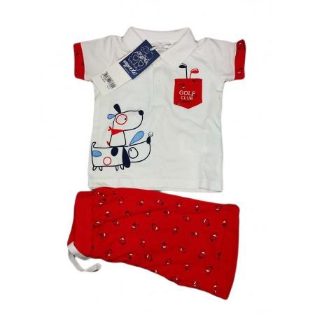 Completo maglia maglietta pantaloncino bimbo neonato Dodipetto Mignolo rosso