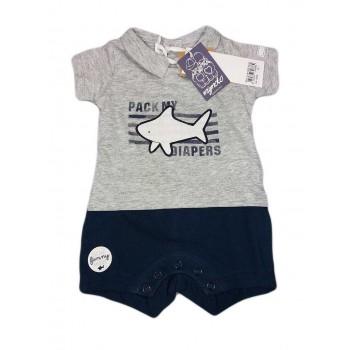 Pagliaccetto tutina bimbo neonato mezza manica grigio blu Dodipetto Mignolo