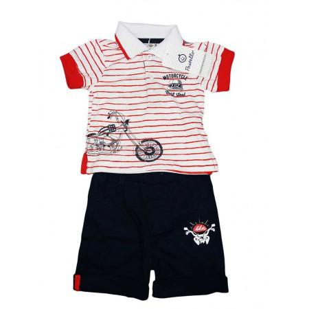 Completo maglia maglietta pantaloncino bimbo neonato Pastello rosso