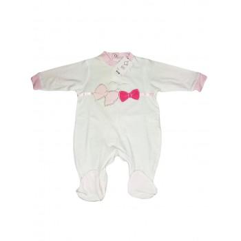 Tuta tutina cotone bimba neonato Will B bianco rosa