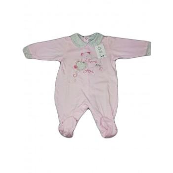 Tuta tutina cotone bimba neonato Will B rosa grigio