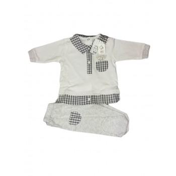 Completo 2pz maglia e ghettina bimbo neonato Will B bianco grigio